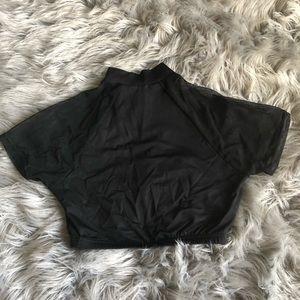 mesh sleeve crop top